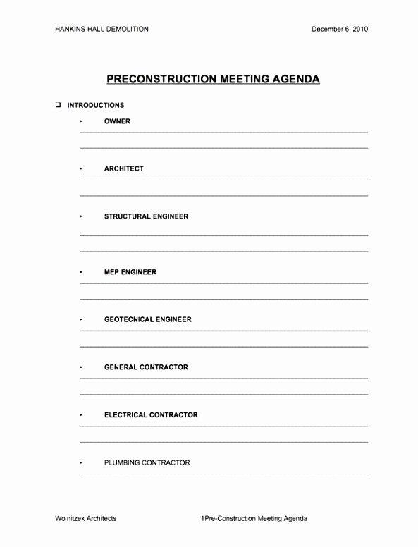 5 Pre Construction Meeting Agenda Template Eiyye