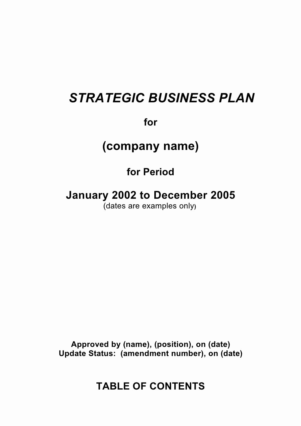 5 Prehensive Strategic Business Plan Template by Earl