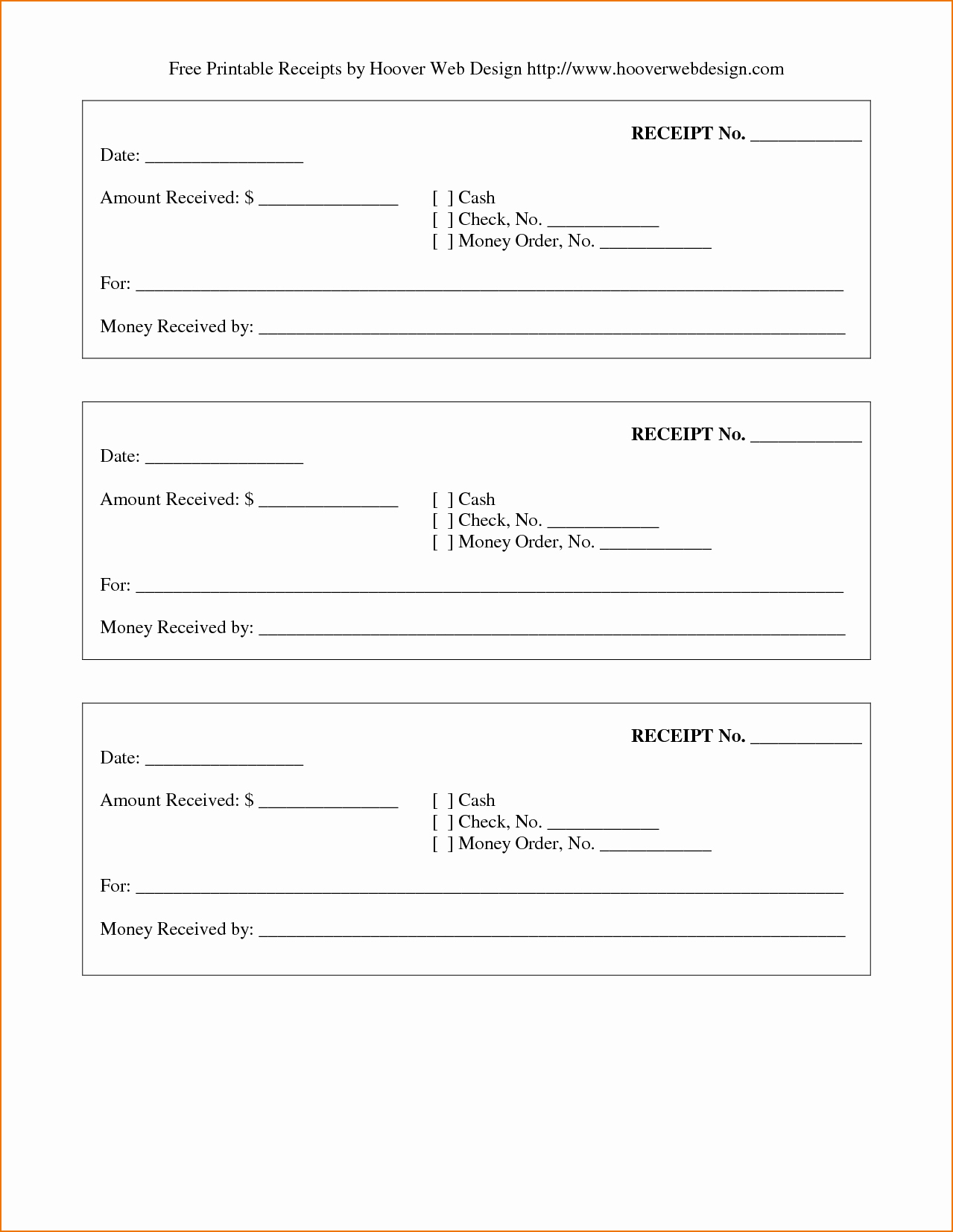 5 Printable Receipt Book