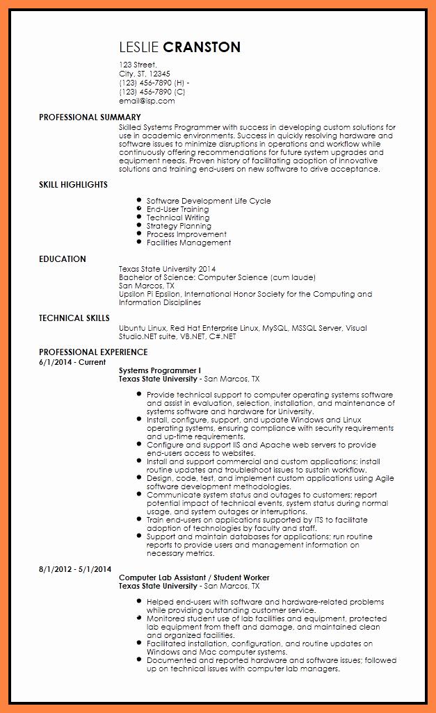 5 Programmer Resume