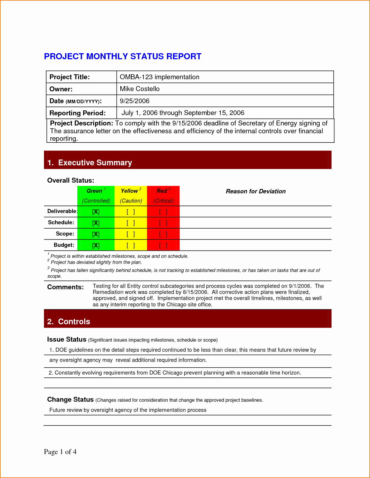 5 Project Status Report Template