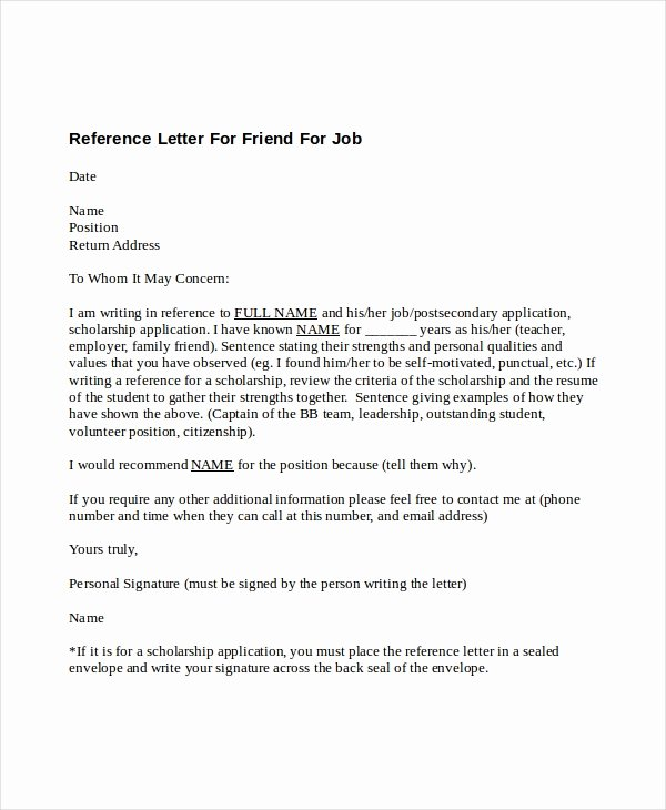 5 Reference Letter for Friend Templates Free Sample