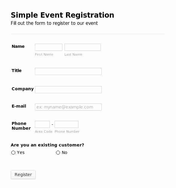 5 Registration form Templates Word – Word Templates