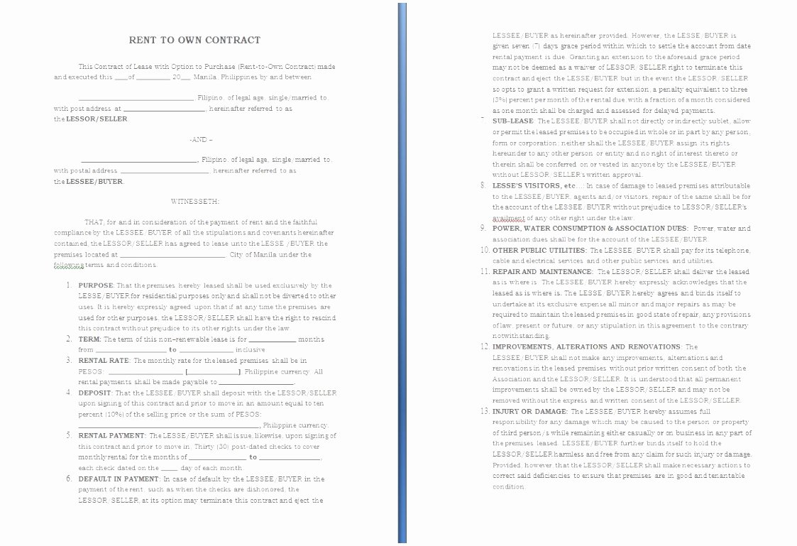 5 Rent to Own Agreement Template Sriet
