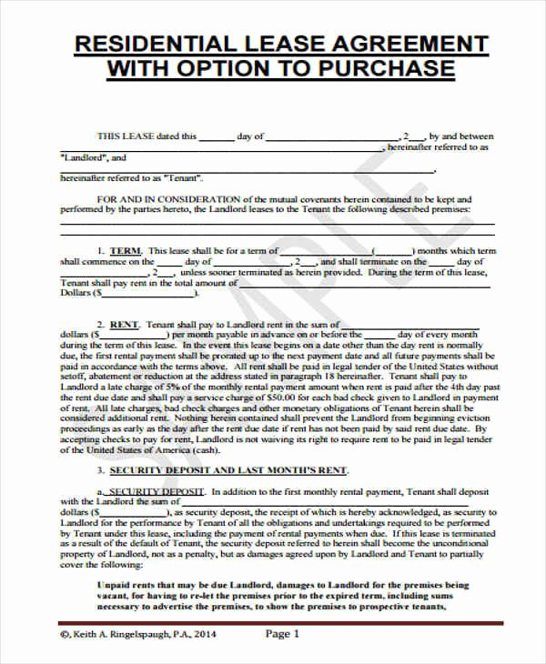 5 Rent to Own Home Contract Samples & Templates