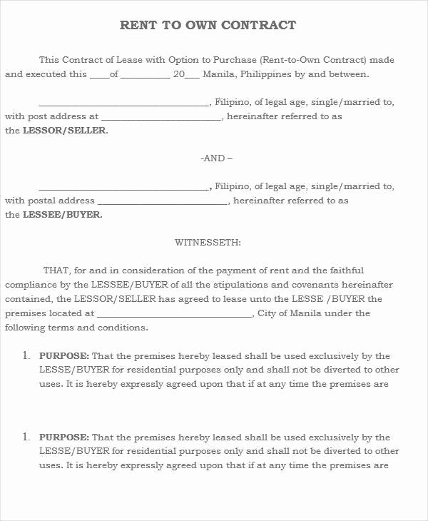 5 Rent to Own House Contract Samples & Templates