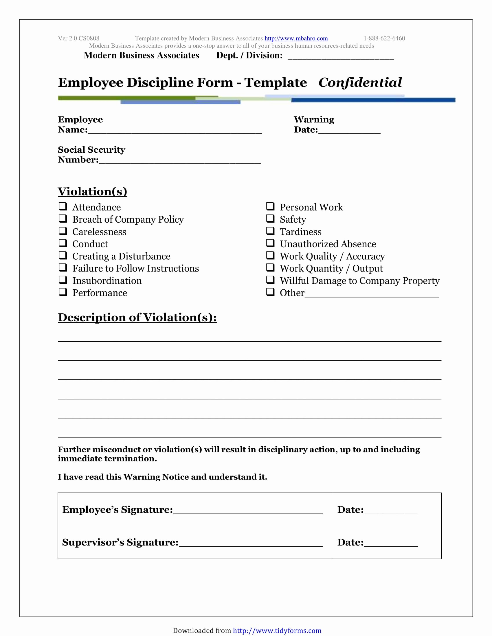 5 Restaurant Employee Write Up forms Pdf
