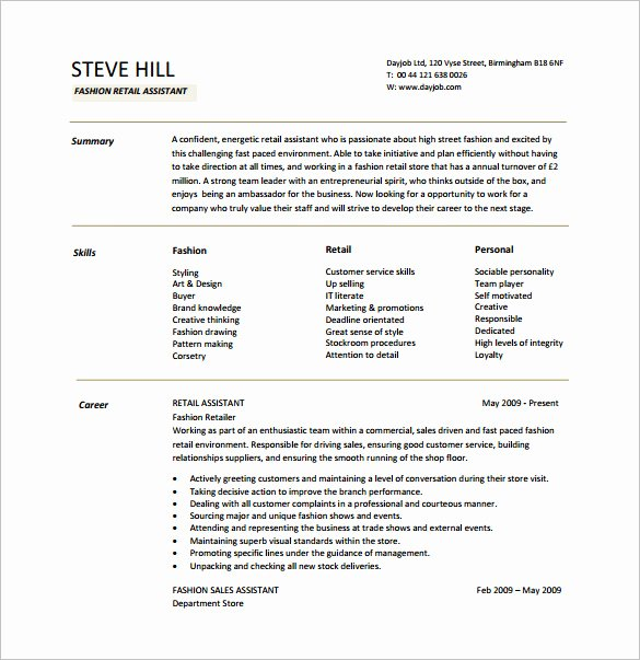 5 Retail Resume Templates Doc Pdf