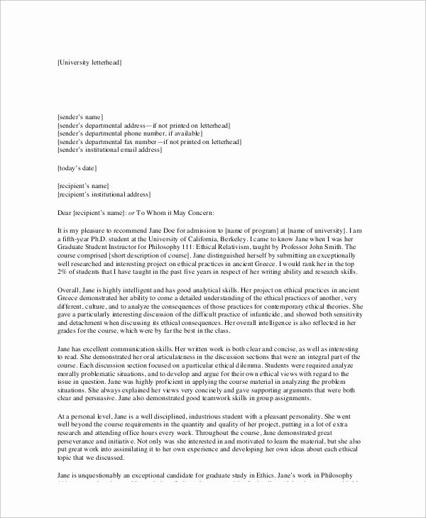 5 Sample Academic Re Mendation Letters