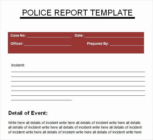 5 Sample Police Reports