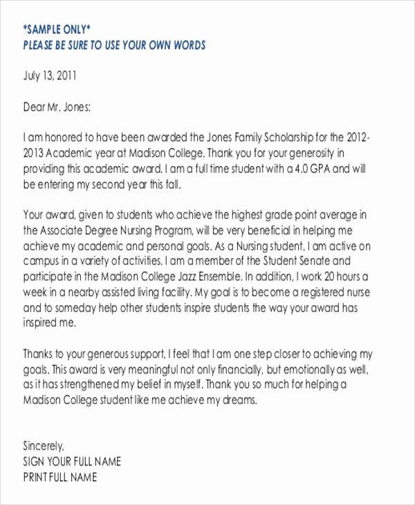 5 Sample Thank You Letter for Scholarship Award