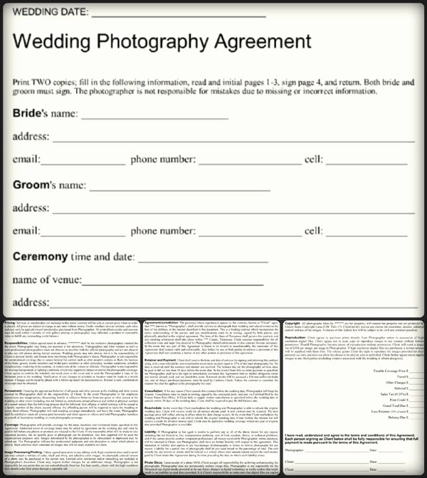 5 Sample Wedding Graphy Contract Templates Word Pdf