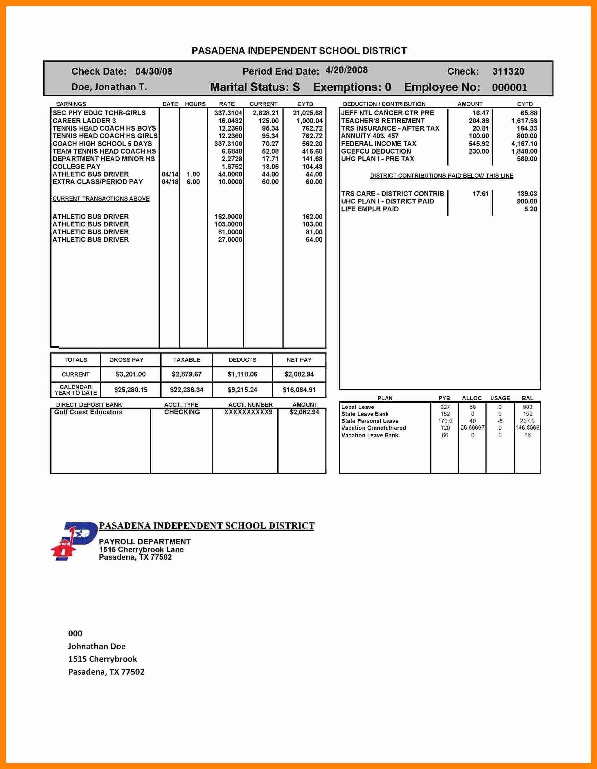 5 Self Employed Pay Stub Template
