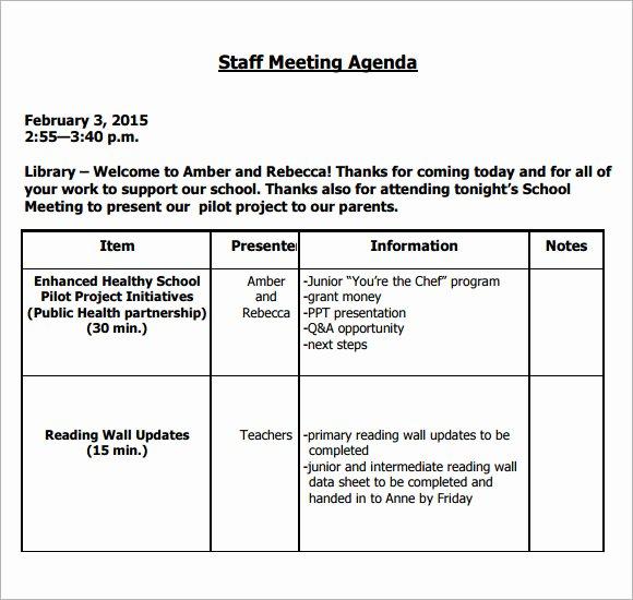 5 Staff Meeting Agenda Samples