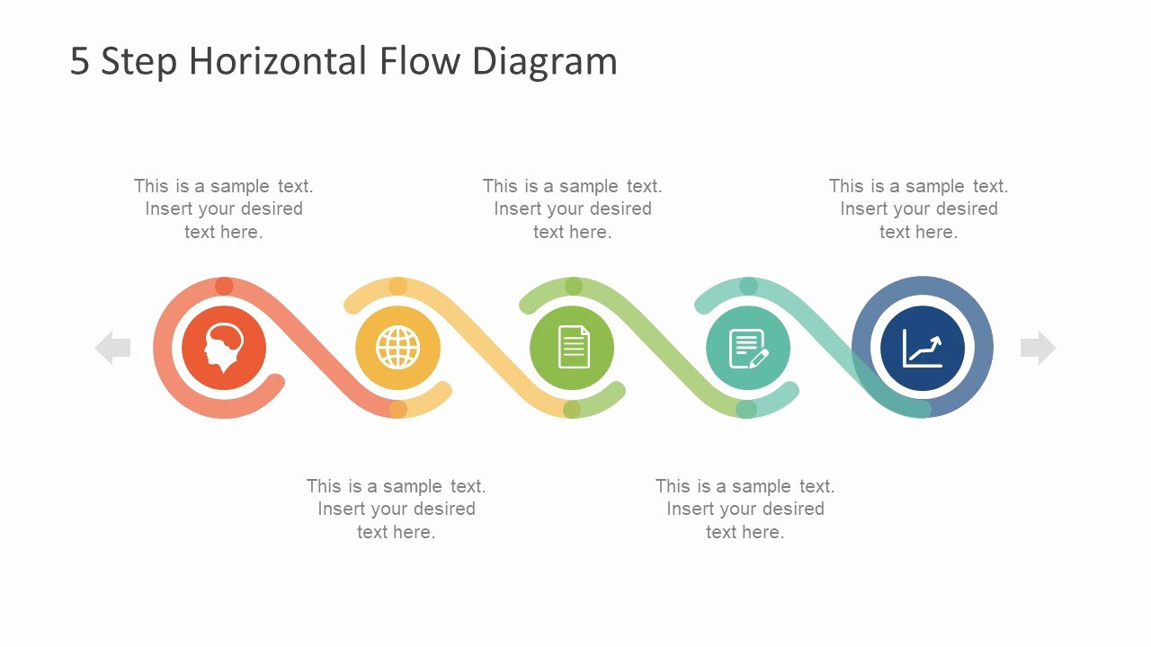 5 Step Horizontal Flow Diagram for Powerpoint Slidemodel