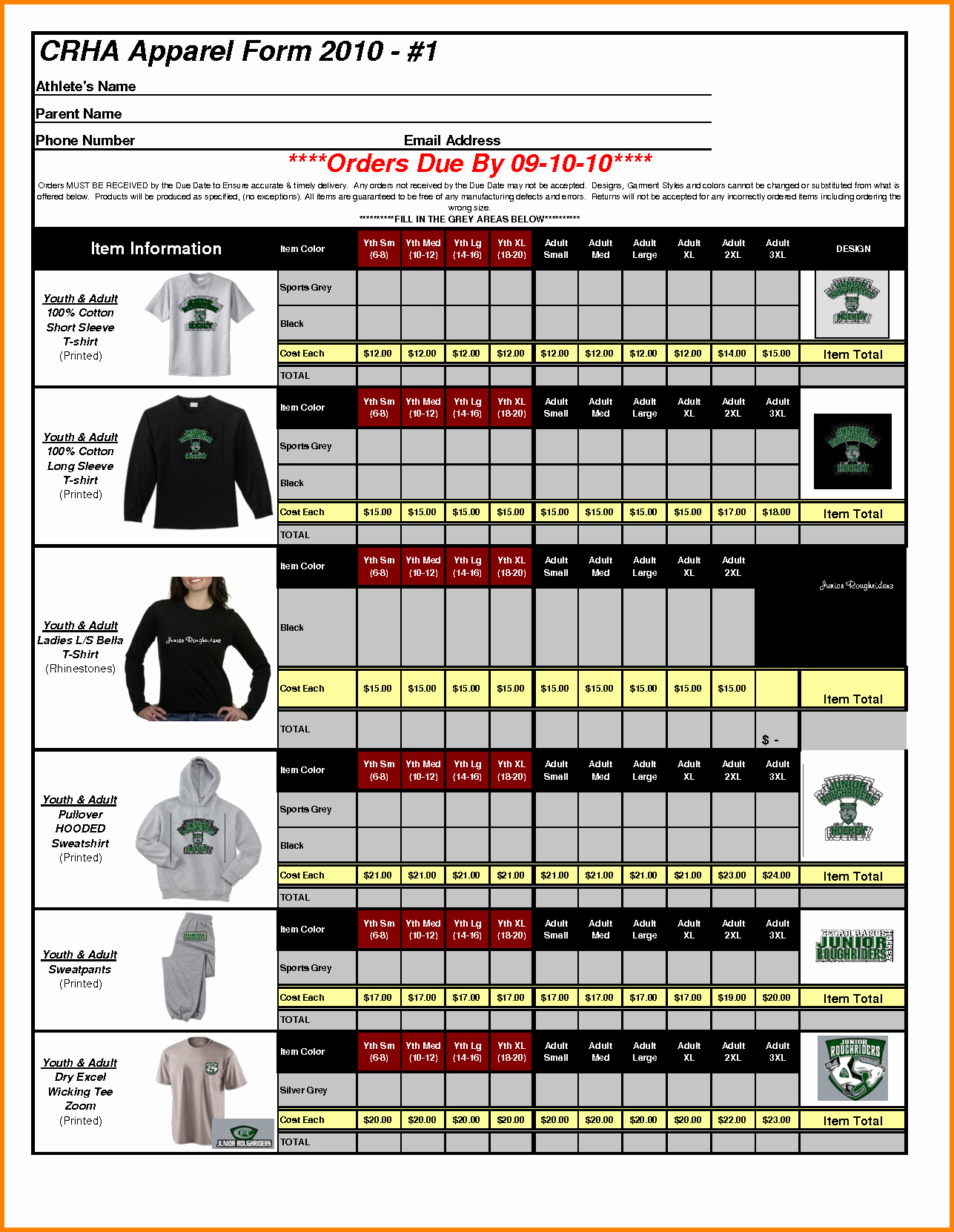 5 T Shirt order form Template Excel