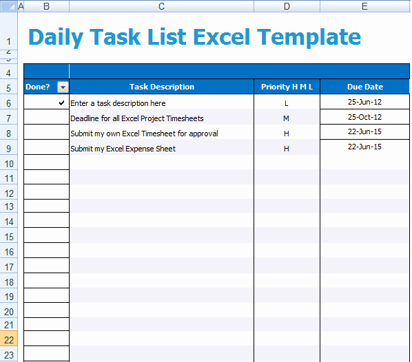 5 Task List Templates formats Examples In Word Excel