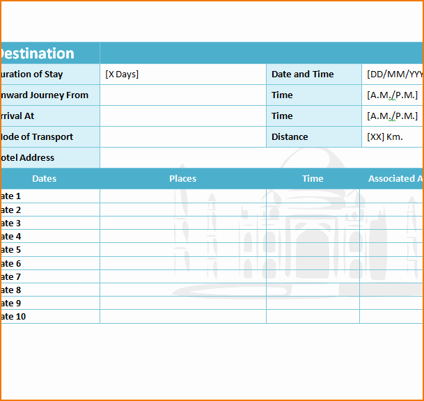 5 Travel Itinerary Template Excel