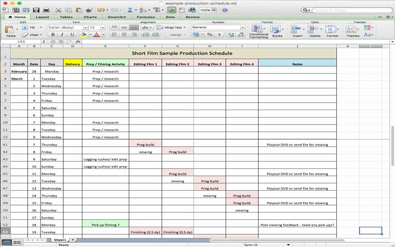 useful microsoft excel templates for film production