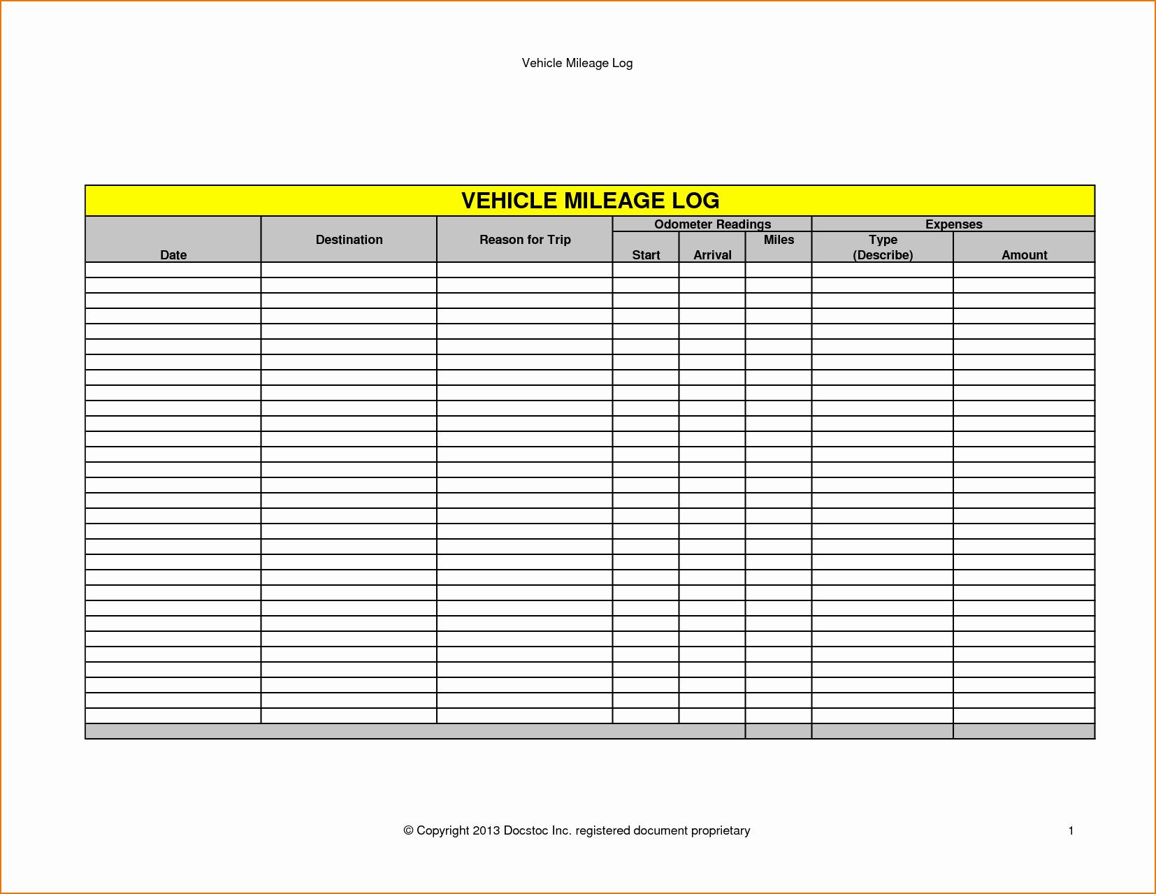 5 Vehicle Mileage Log