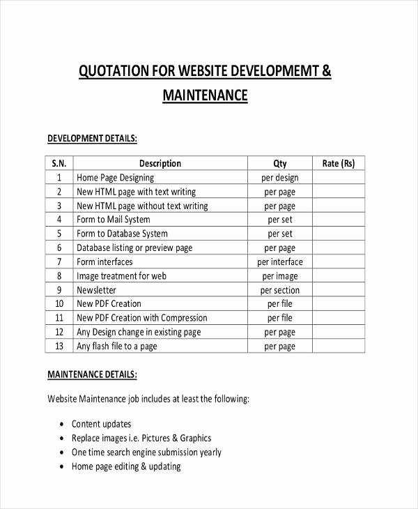 5 Website Quotation – Free Sample Example format – Latter Example
