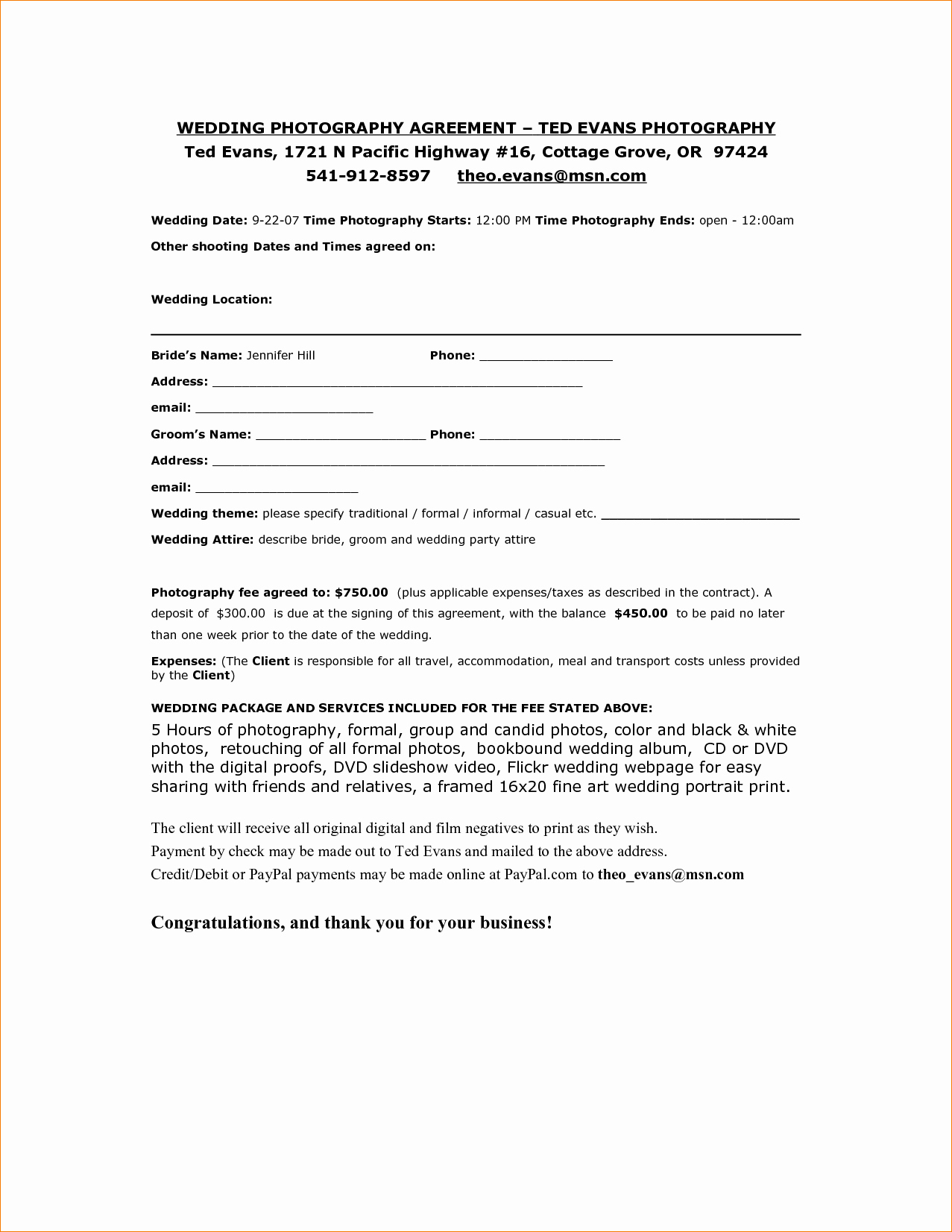 5 Wedding Graphy Contract Template
