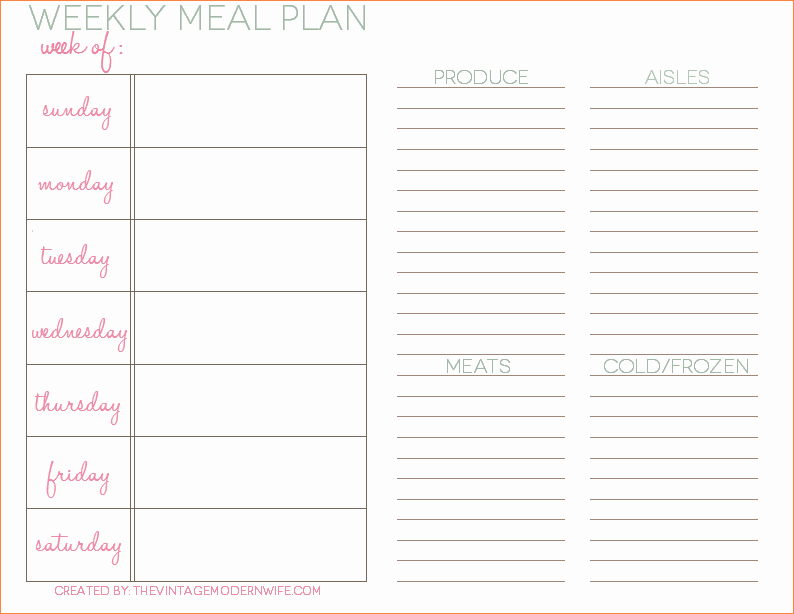5 Weekly Dinner Menu Template