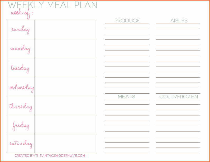 5 weekly meal planning template