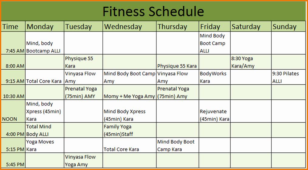 5 Workout Calendar Template