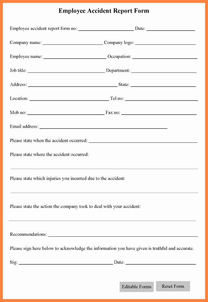 5 Workplace Accident Report form Template