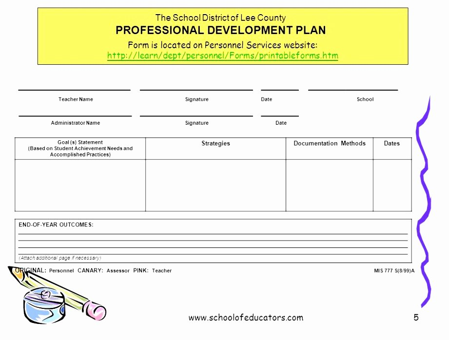 5 Year Professional Development Plan Template Gallery