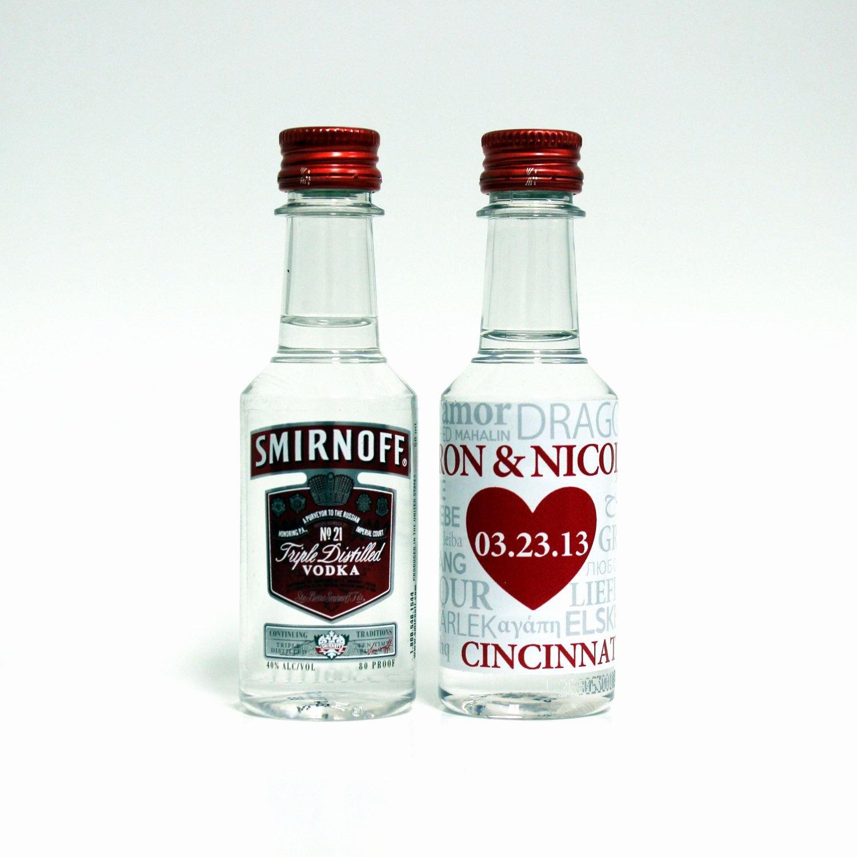 50 Custom Smirnoff Vodka Mini Liquor Bottle Labels Wedding