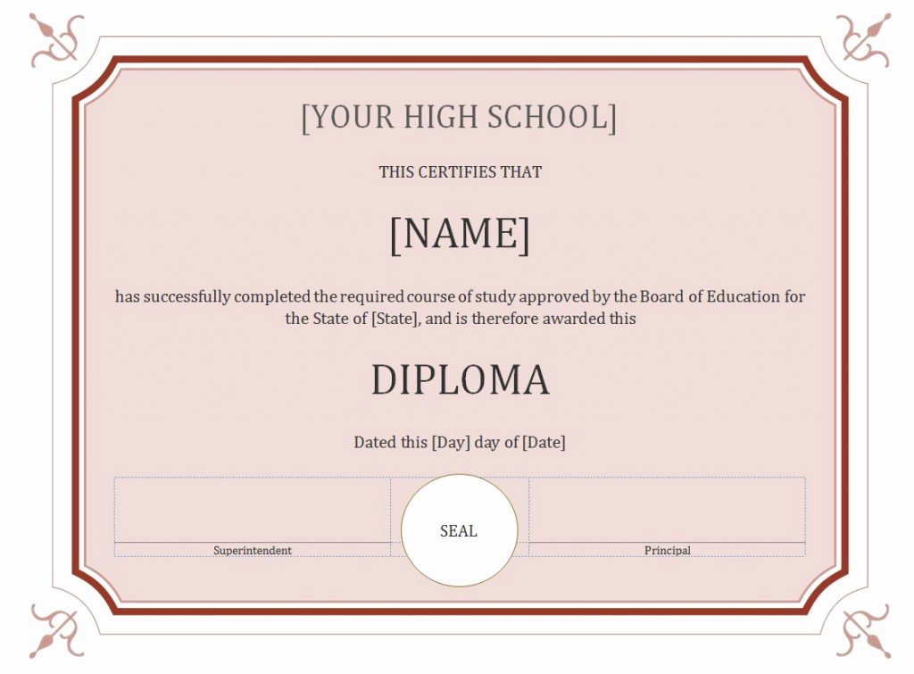 50 Free High School Diploma Template Printable
