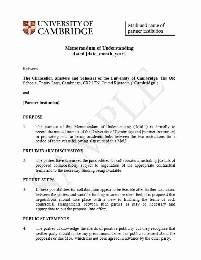 50 Free Memorandum Of Understanding Templates [word