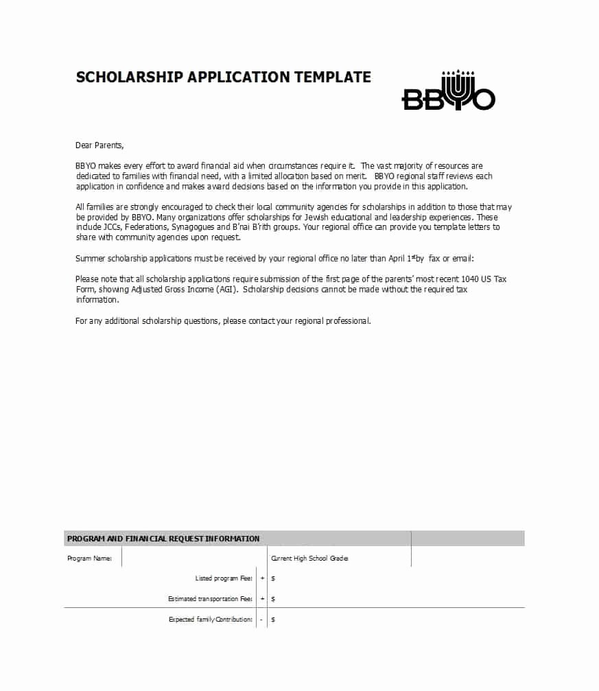 50 Free Scholarship Application Templates & forms