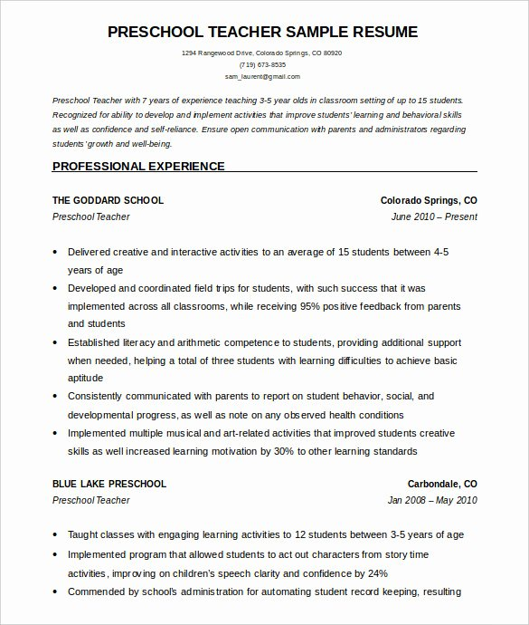 50 Teacher Resume Templates Pdf Doc