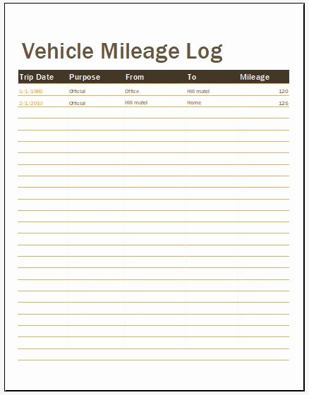 50 Vehicle Mileage Log Templates for Ms Word & Excel