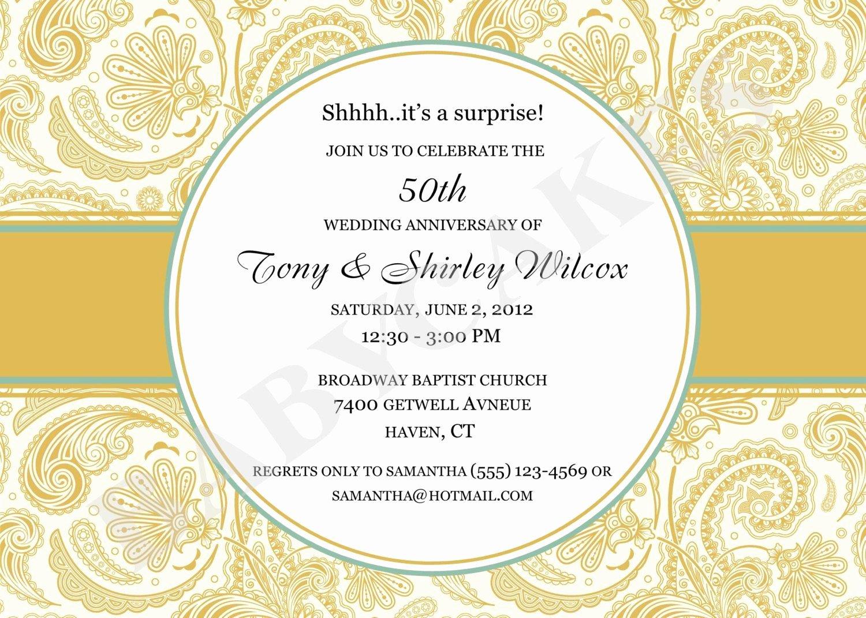 50 Wedding Anniversary Invitation 50th Wedding