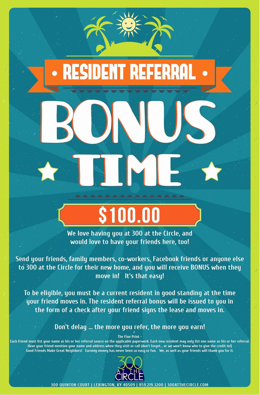 $500 Resident Referral Flyers