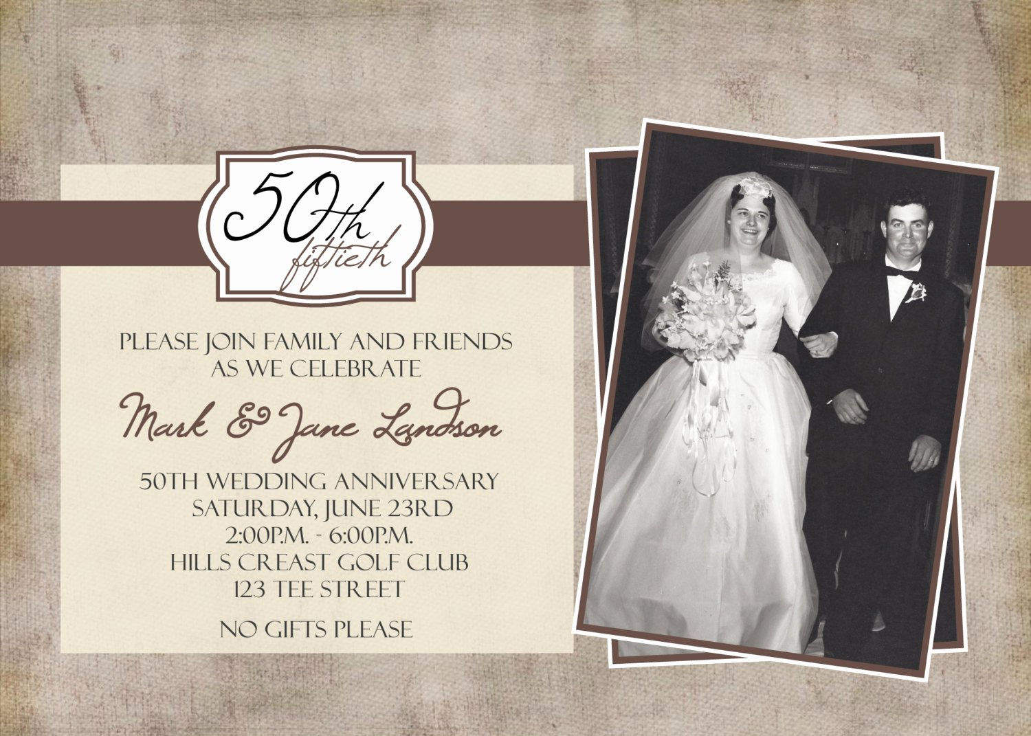 50th Anniversary Party Printable Invitation