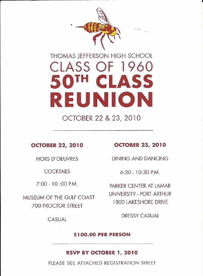 50th Class Reunion Invitations