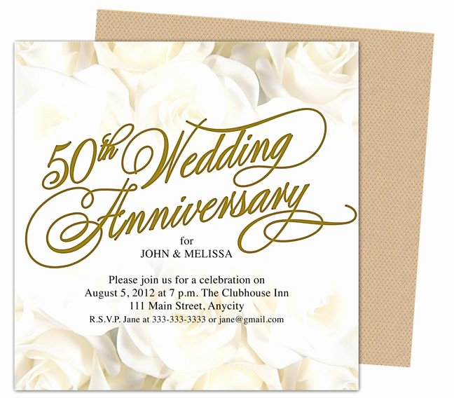 50th Wedding Anniverary Invitations Roses Gold 50th