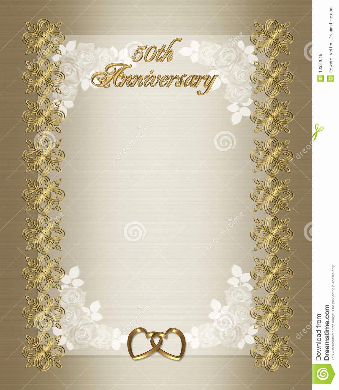 50th Wedding Anniversary Invitation Template Stock