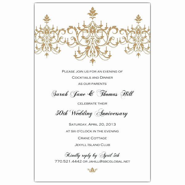 50th Wedding Anniversary Invitation Templates Margusriga