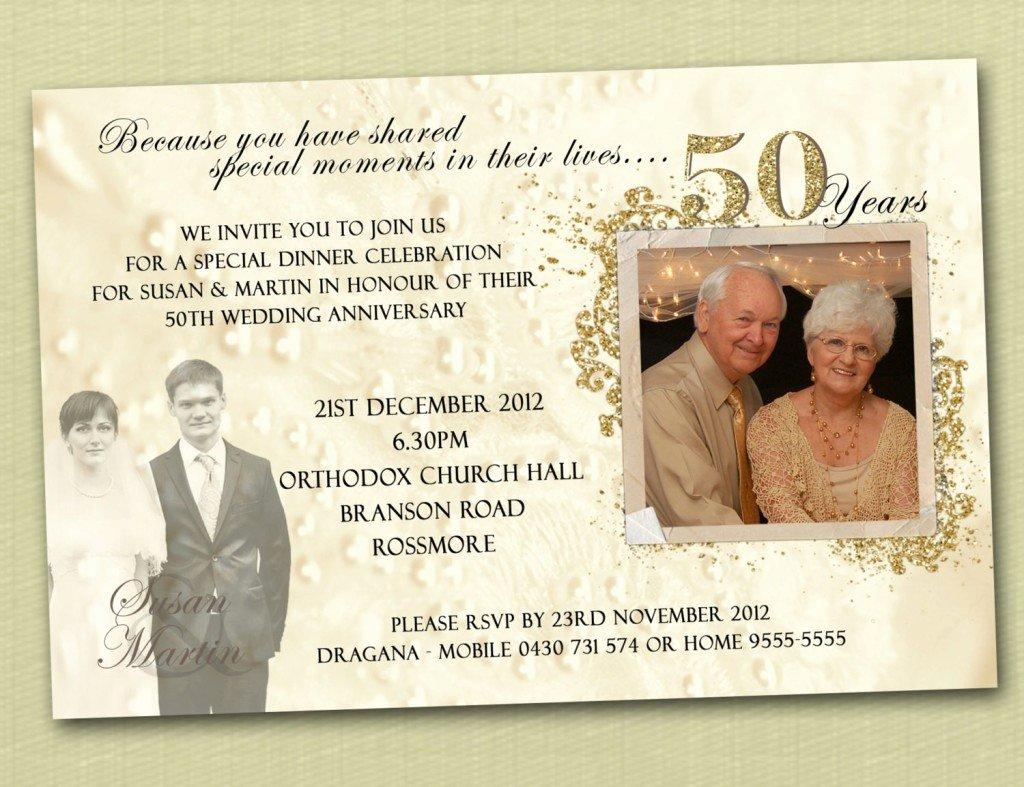 50th Wedding Anniversary Invitation Templates Wedding