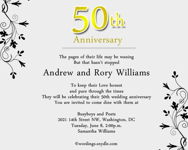 50th Wedding Anniversary Invitation Wording Samples In