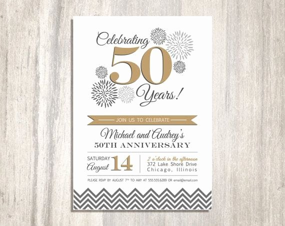 50th Wedding Anniversary Printable Invitation