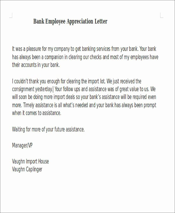 51 Appreciation Letter Samples – Pdf Word Pages Google
