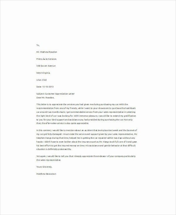 51 Appreciation Letter Samples – Pdf Word Pages Google