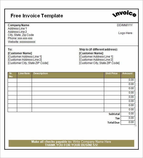 52 Sample Blank Invoice Templates